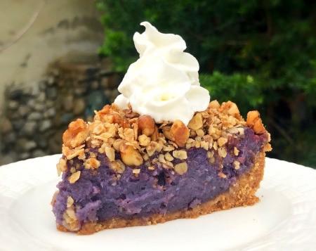whipped cream on piece of Purple Sweet Potato Pie