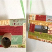 Cardboard Box Play Camera - front and back of a recycled box pretend cameras