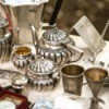 A collection of antique silver dishes.