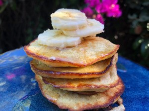 stack of Banana Pancakes on plate