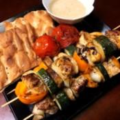 finished Mediterranean Chicken Kabobs
