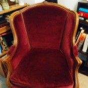 Identifying the Style of an Antique Chair - red upholstered wood trimmed chair