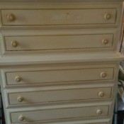 Value of Dixie Furniture Company Dressers - chest of drawers, white or cream with gold outline trim