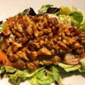 Orange Honey Walnut Salmon on salad