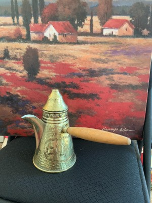 Information on a Hammered Brass Israel Tea Pot - wooden handled conical brass teapot