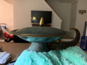 Identifying a Thrift Store Find - shallow metal covered bowl resembling a wok, with an ornate handle