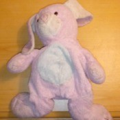 Identifying a Stuffed Rabbit - pink and white stuffed rabbi