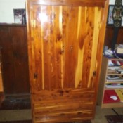 Value of a 2 Door Murphy 311 Cedar Wardrobe - beautiful cedar wardrobe with doors closed