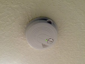 Changing the Battery in a Smoke Alarm - smoke detector on ceiling