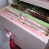 Getting You Fabric Organized - tagged fabric pieces in a drawer