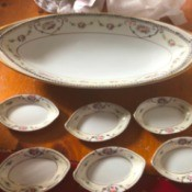 Value of Noritake Celery and Salt China - oval larger platter and 6 smaller similarly shaped dishes