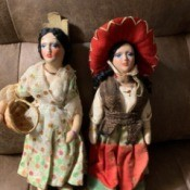 Identifying Vintage Ethnic Porcelain and Cloth Dolls - two ethnic dolls