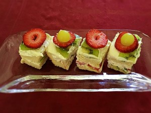 cut Japanese Fruit Sandwich on plate