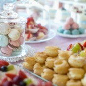 Macaroons and other wedding sweet treats.