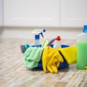 Cleaning supplies in a handy tote.