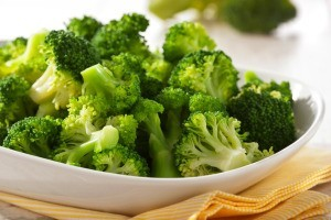 A plate of steamed broccoli.
