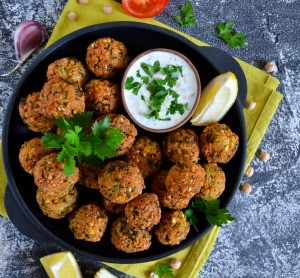 A plate of homemade falafel.