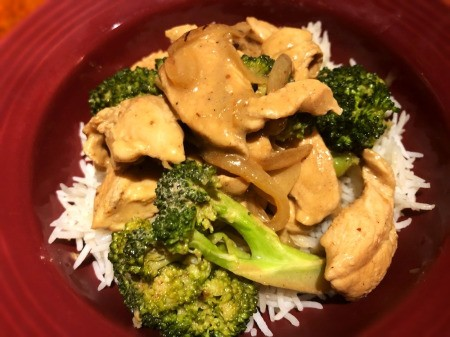 Creamy Chicken and Broccoli on rice