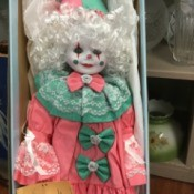 Value of a Betty Jane Carter  Porcelain Doll - clown doll in the box