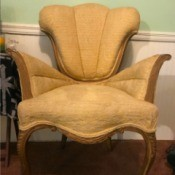 Identifying Antique Chairs - interesting wood trim upholstered chair