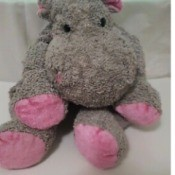Identifying a Stuffed Toy Hippo - grey floppy hippo with pink soles