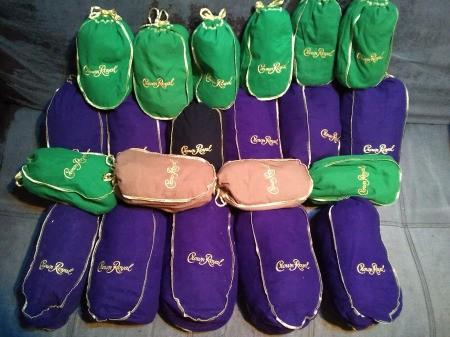 Making a Crown Royal Bag Sleeping Bag - various colored Crown Royal bags