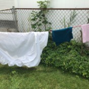 Creative Clotheslines - clothes hanging on a bungy cord between the fence sides