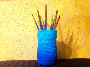 Recycled Ombre Vase - paint brushes in the vase