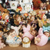 A collection of figurines at an antique store.