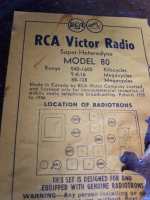 Manufacture's information on RCA Victor Radio.