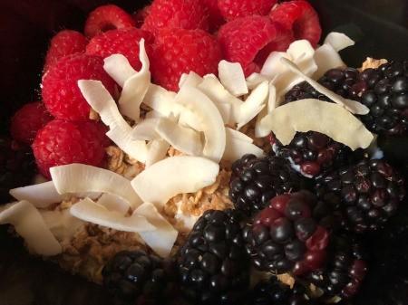 Coconut raspberries & blackberries