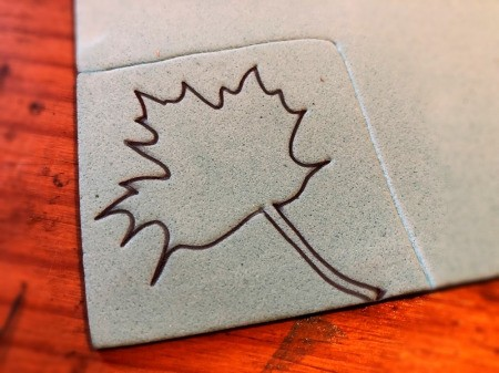 Making Your Own Stamp - draw your design on the foam sheet inside the traced area