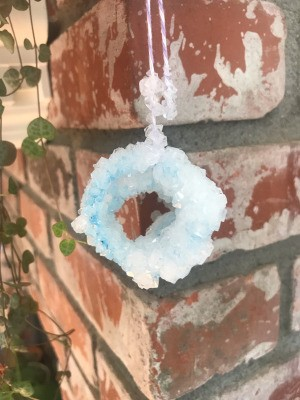 Growing Borax Crystals - hanging crystalline circular shape