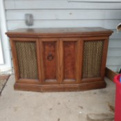 Value of Sylvania Console Stereo System - stereo sitting on a porch