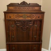 Value of an Antique Dresser - four drawer dresser with top storage area with lid