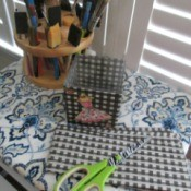 Folding TV Table as a Back To School/Small Space Saver - fabric, scissors, paint brushes, etc. on finished table