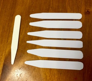 DIY Shirt Collar Stays from Magnetic Hotel Keys  - sample stay and 6 new ones for keycard