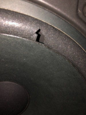 Repairing a Hole in a Stereo Speaker - tear in stereo speaker