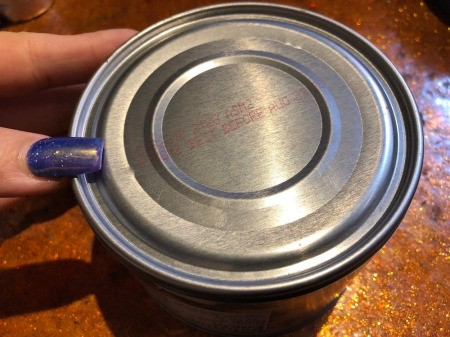 Making Pancakes On a Tin Can - decide which end of your can you will cook on