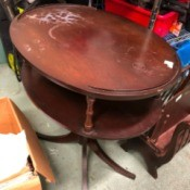 Identifying a Two Tier Vintage Oval Side Table - mahogany two tier table