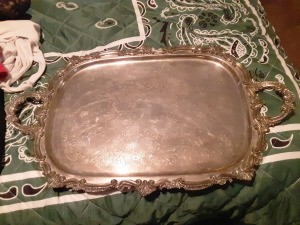 Determining the Value of a Silver Tray - ornate serving tray with handles