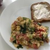 Scrambled Eggs & bread on plate