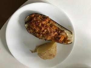 Eggplant Boat & potato on plate