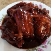 Pork Belly and Ribs in Barbecue Sauce on plate