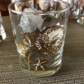 Identifying Vintage Lowball Glasses - with cotton boll and leaf pattern