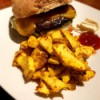 Acorn Squash Fries on plate with sandwich