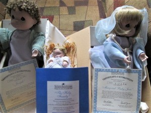 Value of Ashton Drake Figurines - Precious Moments Holy Family figurines in boxes
