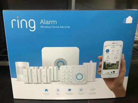 The package for a Ring alarm system.
