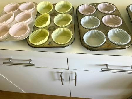 cupcake liners in baking pan