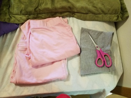 Getting the Perfect Length on Cut-off Pants - pink pants and the bottom of a pair of grey pants